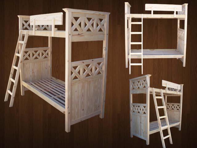 Muebles Intantiles  Camas superpuestas tablero Cruz  ( en crudo