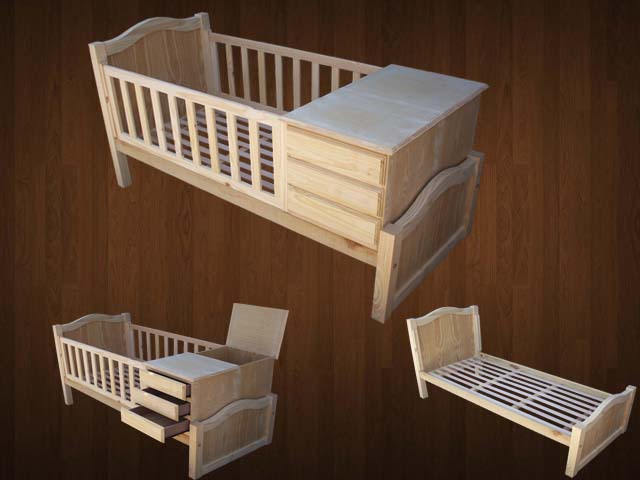 Muebles Infantiles - Cuna Funcional - ( Modelo Zaira ) - EN CRUDO -