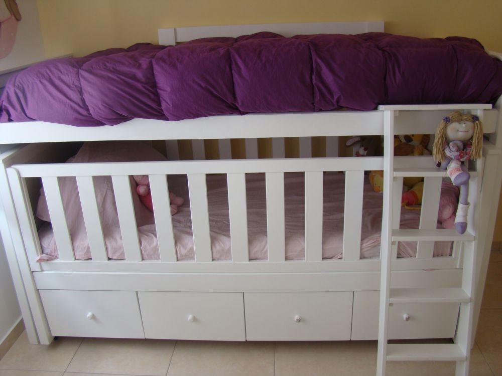 Muebles infantiles cama nido con cuna funcional y cajonera - Muebles con cama plegable ...