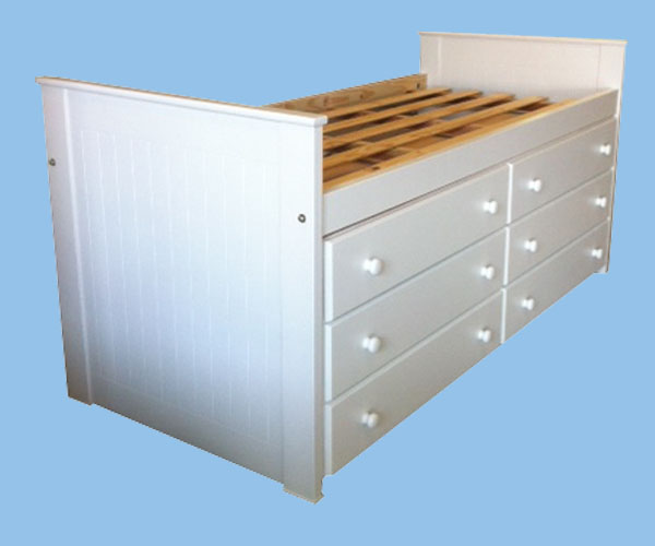 Muebles Infantiles - Cama Alta Con Cajones - Laqueada