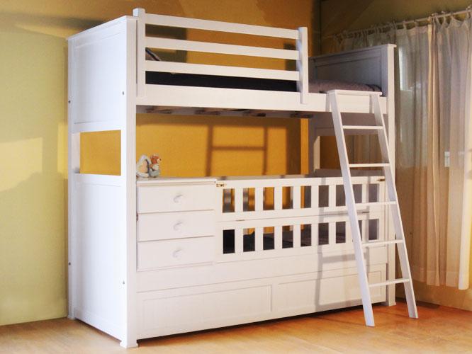 Muebles infantiles cuna funcional americana con cama for Cama funcional