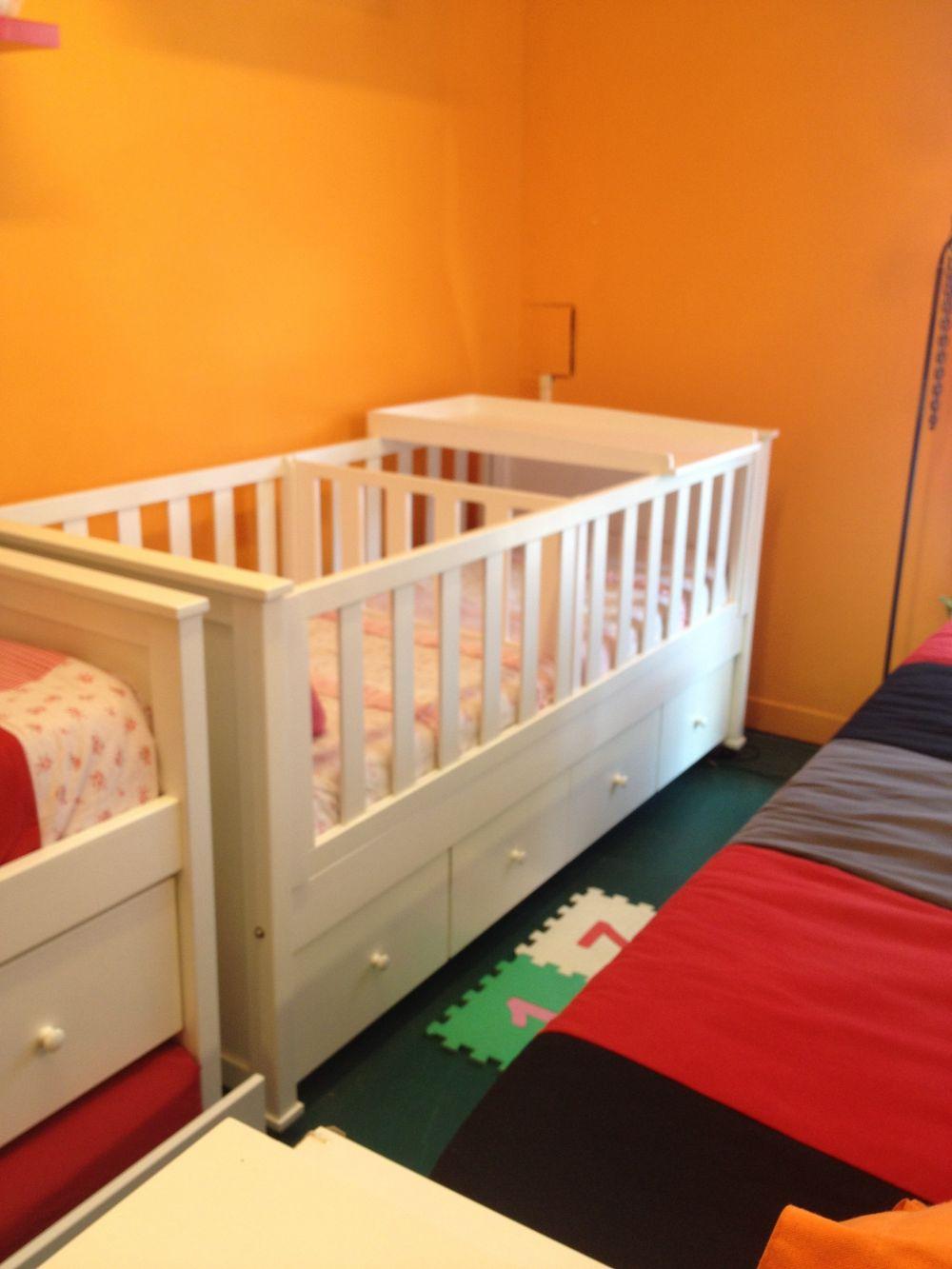 Muebles Infantiles - Cuna Funcional P/ Mellizos Laqueada - Con ...