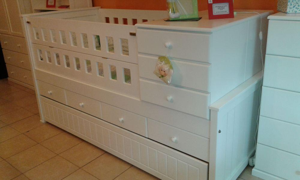 Muebles Infantiles - Cuna Funciona Con Cajonera y Carro Cama - Laqueada