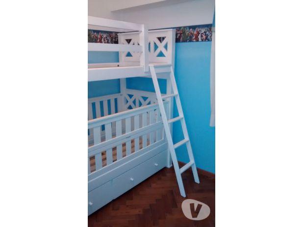 Muebles Infantiles - Cuna Funcional Con Cama Superpuesta y Carro ...