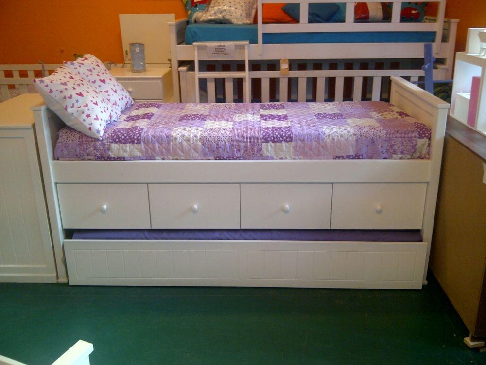 Muebles infantiles cama juvenil guillermina c cajonera y carro cama laqueada - Camas divanes juveniles ...