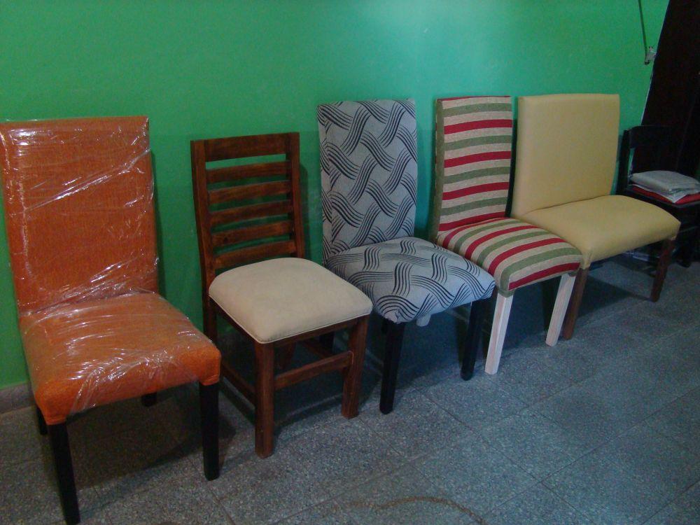 silla para comedor tapizada patas lustradas