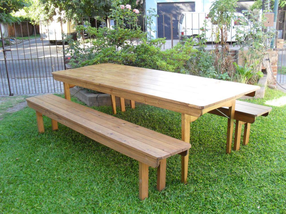 Juego de mesa y bancos plegables de jardin for Bancos de jardin precios