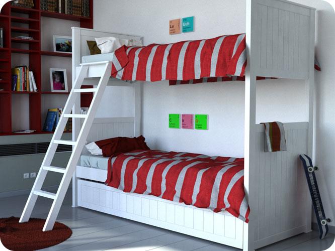 Muebles infantiles cama superpuesta modelo americana for Camas puente infantiles